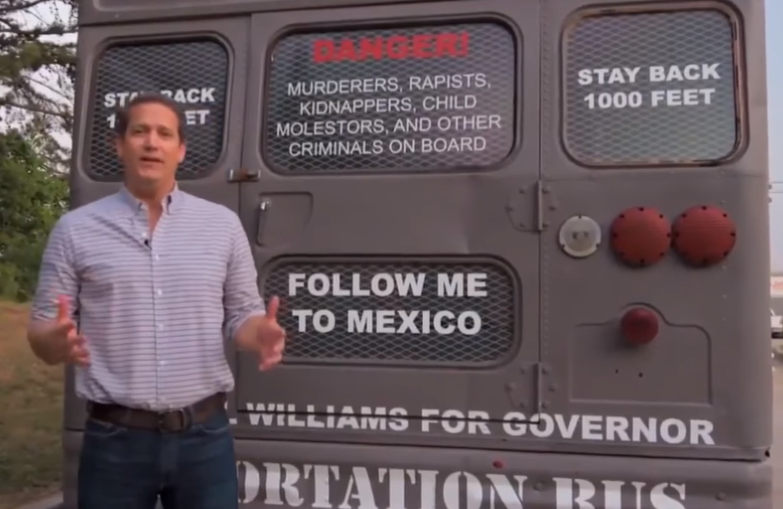 "Gubernatorial candidate Michael Williams drove a ""deportation bus"" around Georgia leading up to the May 22 primary election."
