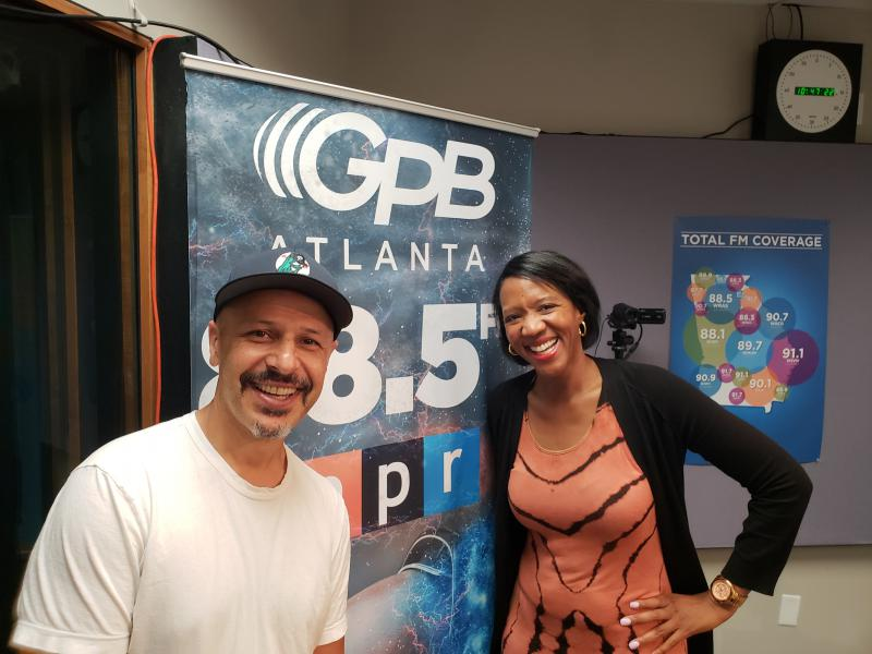 Comedian Maz Jobrani [left] with GPB's Leah Fleming [right]