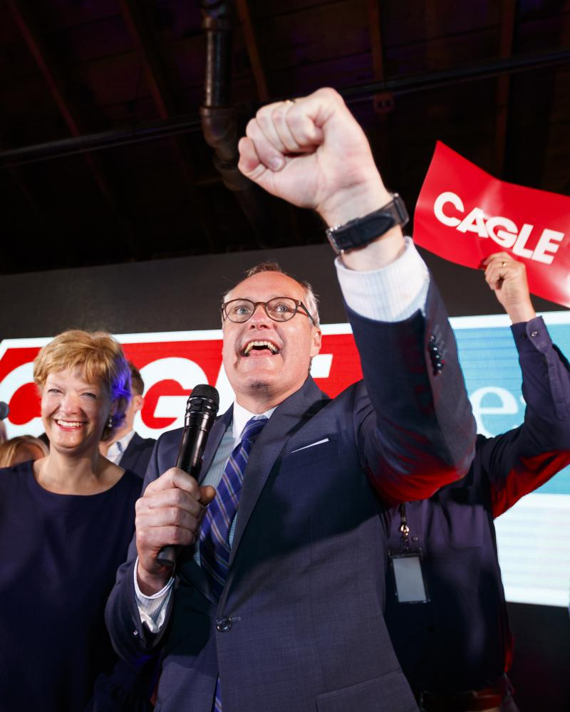Republican candidate for Georgia Gov. Casey Cagle speaks to his supporters as he enters a runoff with Brian Kemp during an election-night watch party in Gainesville, Ga., Tuesday, May 22, 2018.