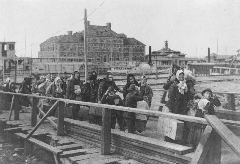 Immigrants arriving at Ellis Island in 1902.