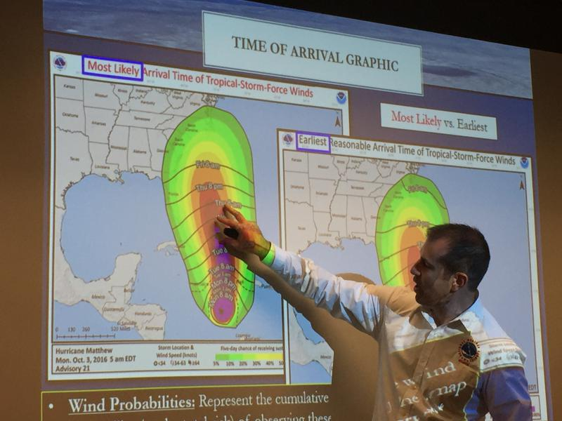 National Weather Service meteorologist David Nadler describes changes in technology that allow forecasters to know more precisely where a hurricane might affect an area.