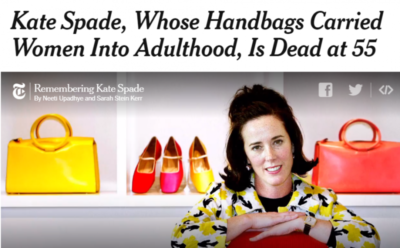 The New York Times dedicated three reporters, part of the front page and a two-page spread to the memory of Kate Spade.