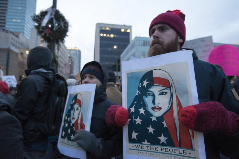 On January 31, 2017 around 7000 protesters gathered in downtown Minneapolis to denounce Republican President Trump and express solidarity with immigrants.