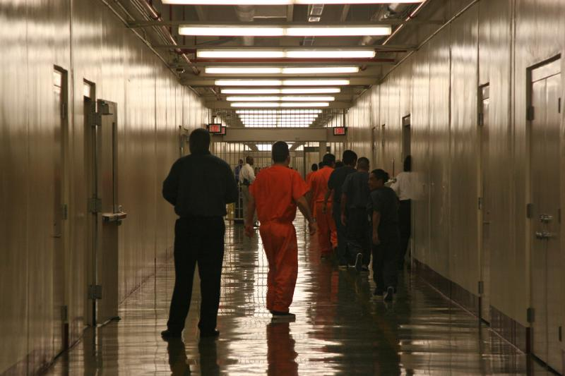 File photo of detainees leaving the cafeteria at the Stewart Detention Facility, a Corrections Corporation of America immigration facility in Lumpkin, Ga. April 13, 2009