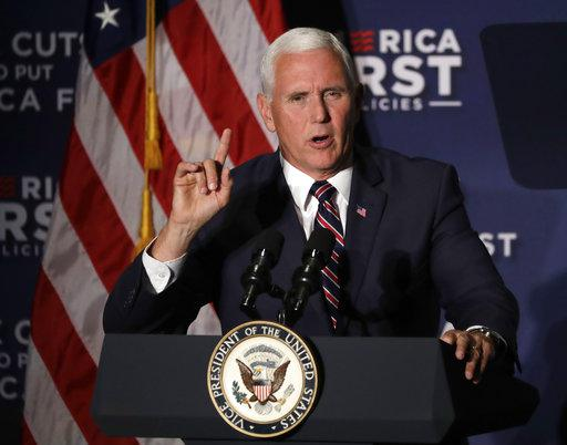 Vice President Mike Pence at a 2017 campaign fundraiser for Karen Handel. Pence has had to cancled two fundraisers for Brian Kemp due to strong storms.