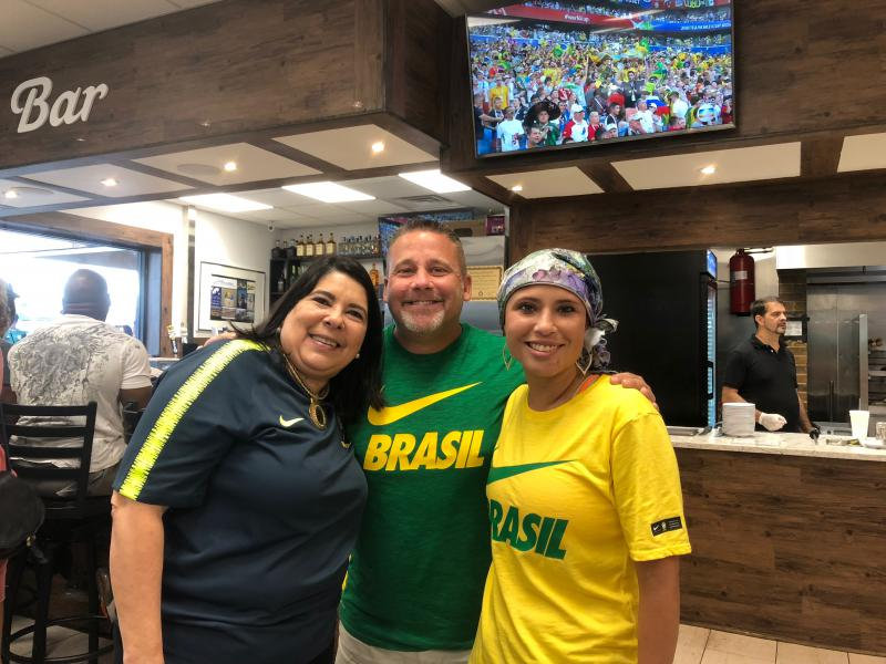 Ana Rangel (left), Shannon Center (center) and Melissa Center were all smiles after Brazil's win over Mexico in the World Cup.