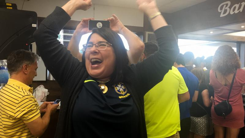 Ana Rangel, who moved from Brazil to the United States more than three decades ago, celebrates after Brazil scores its second goal.