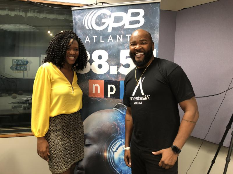 GPB's Leah Fleming (left) interviews Georgia Radio Hall of Famer Ryan Cameron (right).