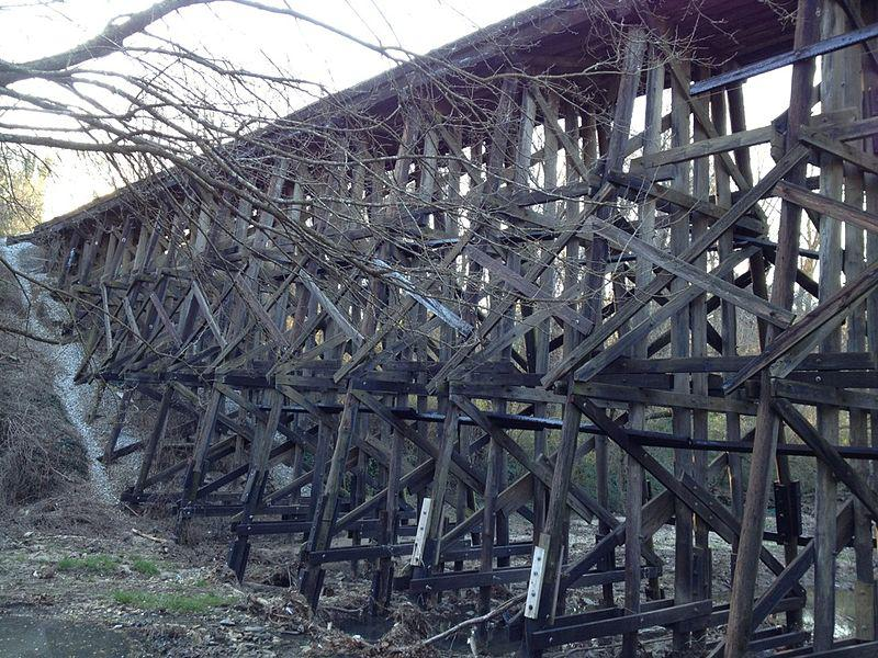 An old rail trestle at Tanyard Creek park in Atlanta's Buckhead neighborhood
