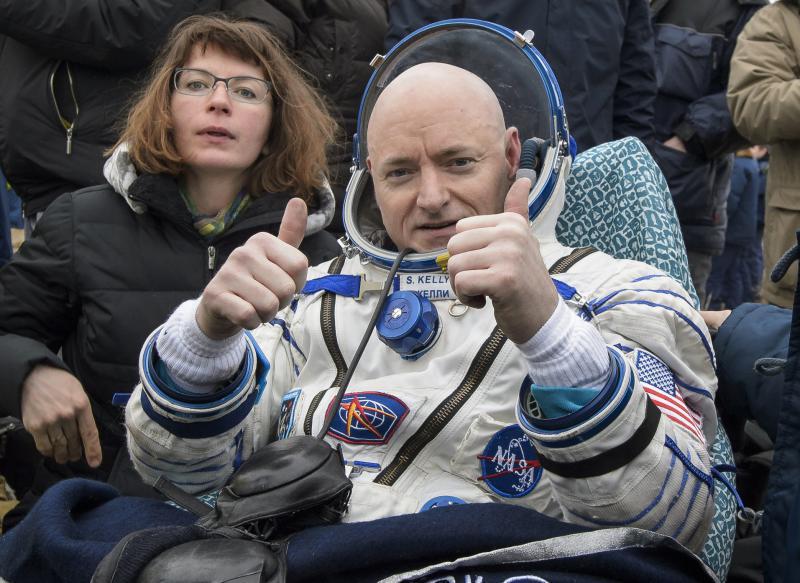 International Space Station (ISS) crew member Scott Kelly of the U.S. reacts after landing near the town of Dzhezkazgan, Kazakhstan.