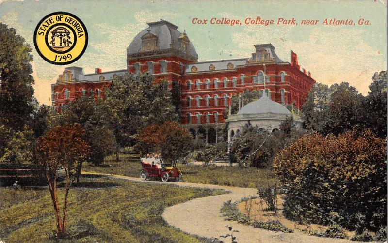 An old postcard featuring Cox College