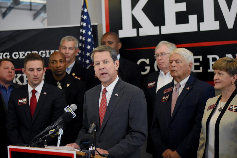 Brian Kemp speaks during a campaign event outlining policy intiatives for veterans in Georgia.