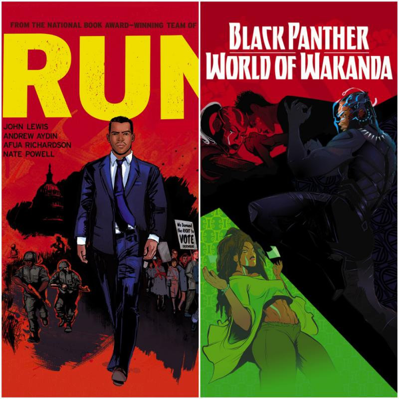 Two of Afua's projects: World of Wakanda and 'RUN', the story of civil rights leader John Lewis of Atlanta