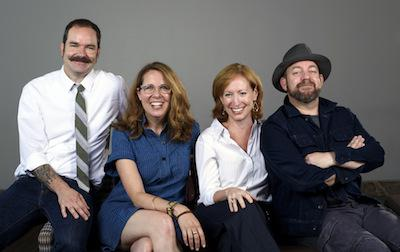 "(From left to right) )Brandon and the creative team of the Alliance Theatre's ""Troubadour."" Janece Shaffer, Bill's wife, wrote the book, Susan Booth directed, Kristian Bush wrote the songs."