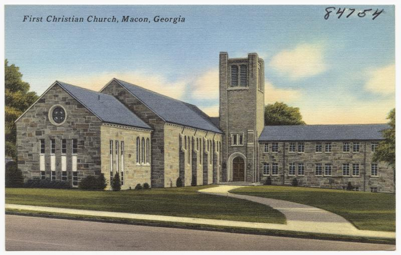 A postcard of the first Christian Church in Macon, Georgia from the archives at the Boston Public Library.