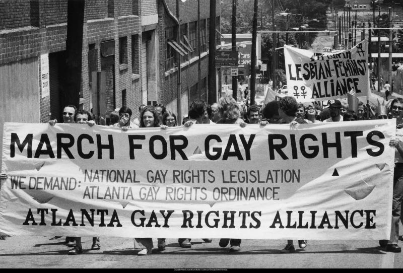 Gay rights demonstration in Atlanta in the 1980s.