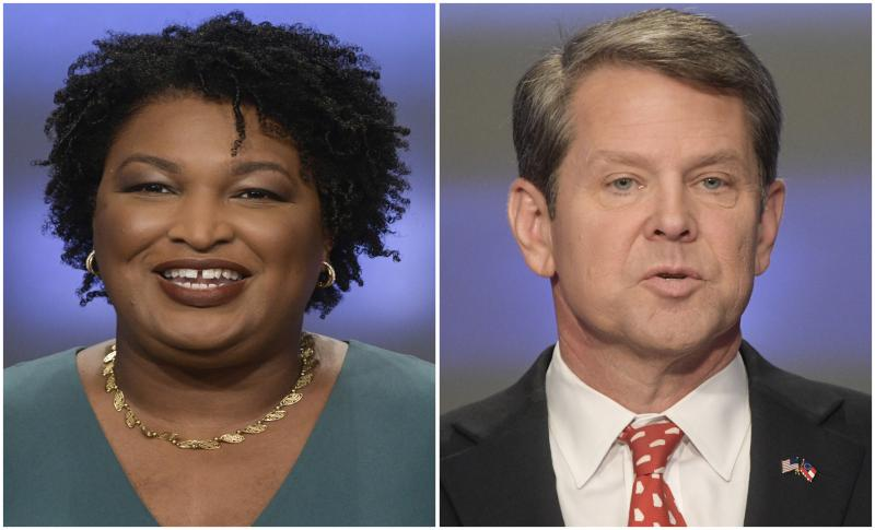 Georgia gubernatorial candidates Stacey Abrams, left, and Brian Kemp.