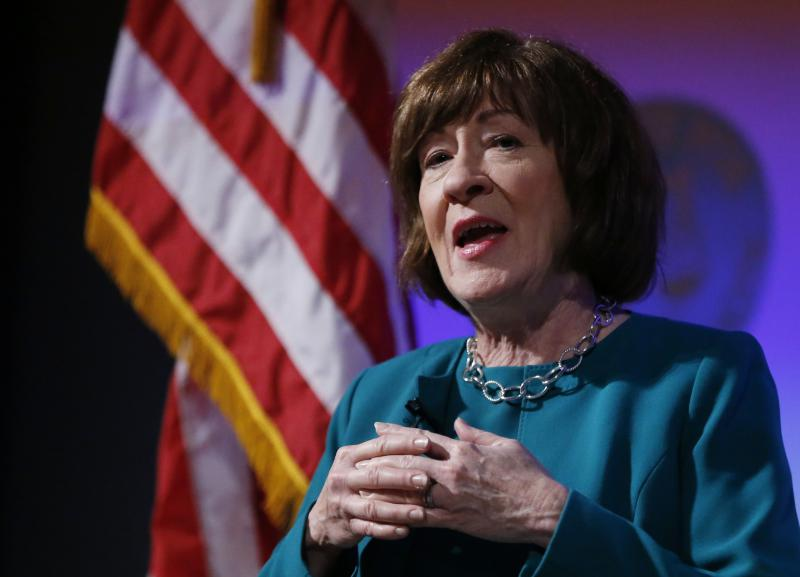 "Sen. Susan Collins, R-Maine, considered one of the few possible Republican ""no"" votes on Supreme Court nominee Brett Kavanaugh, speaks at Saint Anselm College, Friday, Sept. 21, 2018, in Manchester, N.H."