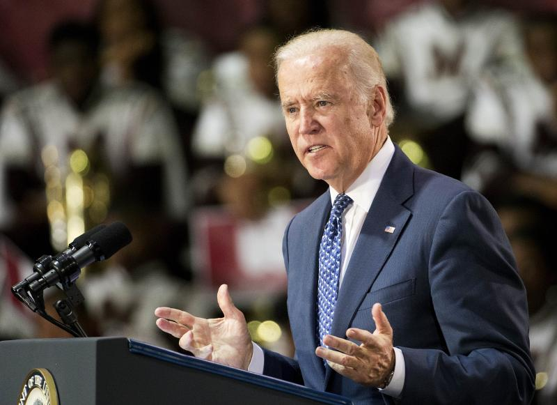 Vice President Joe Biden speaks at Morehouse College as part of a campaign to raise awareness of sexual assault on college campuses Tuesday, Nov. 10, 2015, in Atlanta.