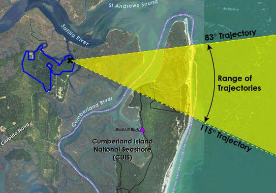 Proposed launch path for rockets launched at Spaceport Camden (per FAA)