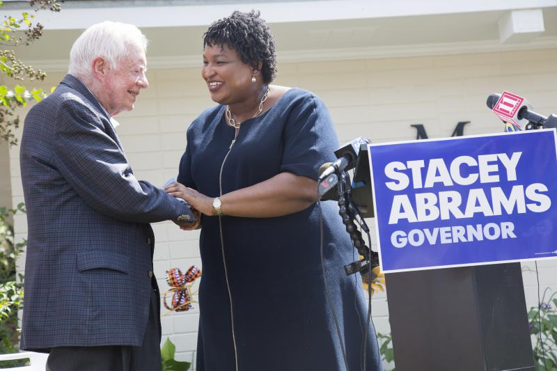 Former President Jimmy Carter and democratic gubernatorial candidate Stacey Abrams together on a campaign stop in Carter's home of Plains.