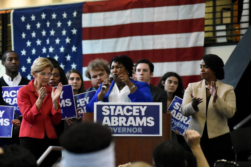 U.S. Sen. Elizabeth Warren, Georgia Gubernatorial nominee Stacey Abrams and Boston City Councilor Ayanna Pressley hold a campaign rally at Clayton State University south of Atlanta.