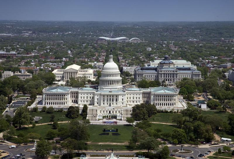 Aerial view of the United States Capitol building.