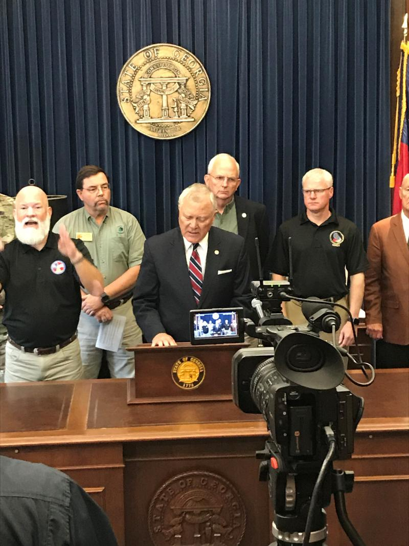 Gov. Deal speaks at the State Capitol about efforts for hurricane cleanup.