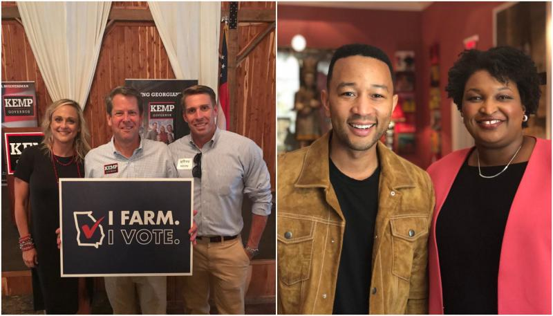 Left, Brian Kemp poses with supporters in Middle Georgia. RIght, Stacey Abrams poses with singer-songwriter John Legend