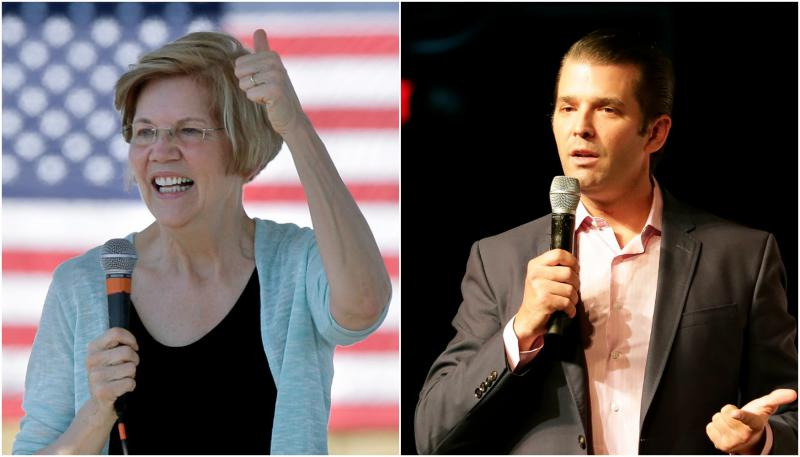 Left: Sen. Elizabeth Warren, D-Mass., during a town hall event, in Natick, Mass. Right: Donald Trump Jr. speaks at a rally in Orlando, Fla.
