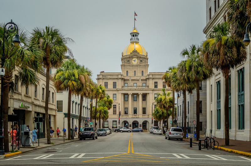 City Hall in Savannah, Georgia is an early 1900s Renaissance Revival building with a 70-foot gold leaf dome.