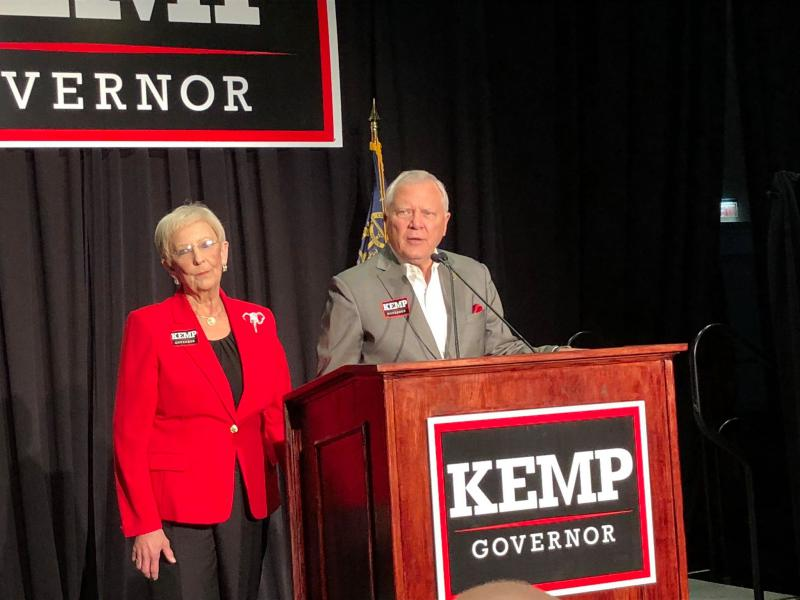 Outgoing Gov. Nathan Deal addresses Brian Kemp supporters early in the night.