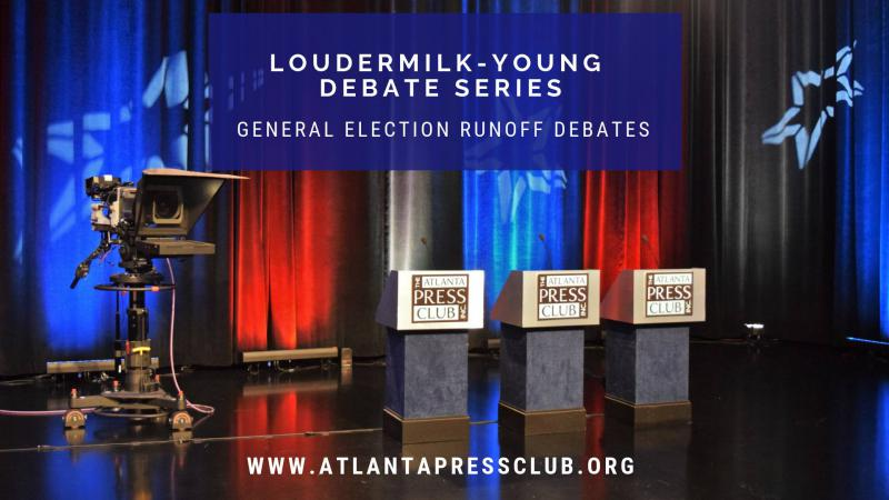 The Atlanta Press Club Loudermilk-Young Debate Series will host the General Election Runoff debate for secretary of state at 11:30 a.m. Tuesday at Georgia Public Broadcasting.