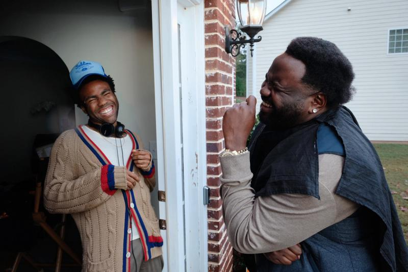 """Actors Donald Glover and Brian Tyree Henry on the set of FX's Atlanta."""""""