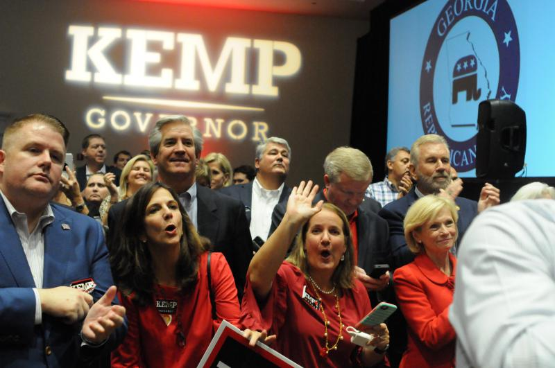Supporters of Brian Kemp at his election watch party in Athens.