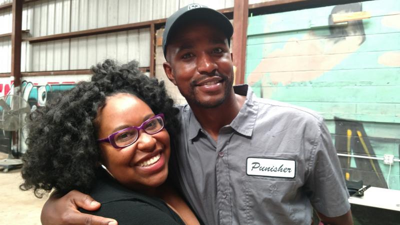 Taraja Ramsess with host Kalena Boller at his workshop in Atlanta.