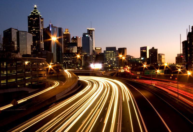view of Atlanta traffic at night