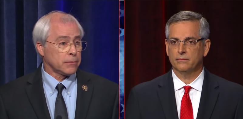Democrat John Barrow, left, and Republican Brad Raffensperger, right, at the Atlanta Press Club/Georgia Public Broadcasting Debate.