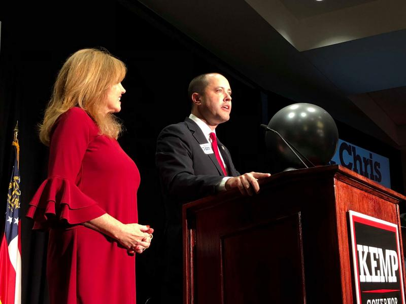 Joan Kirchner Carr (left) with Chris Carr at The Classic Center in Athens. Carr won reelection as Attorney General.