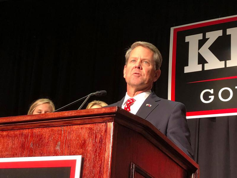 Brian Kemp's address to supporters in Athens, GA was optimistic but the Republican candidate did not formally declare victory.