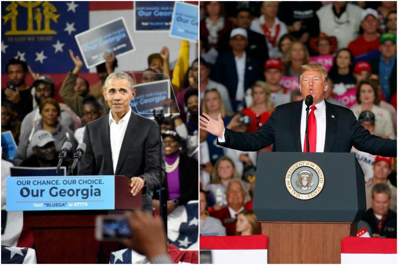 Left, Former President Barack Obama campaigns for Stacey Abrams in Atlanta. Right, President Donald Trump campaigns for Brian Kemp in Macon.