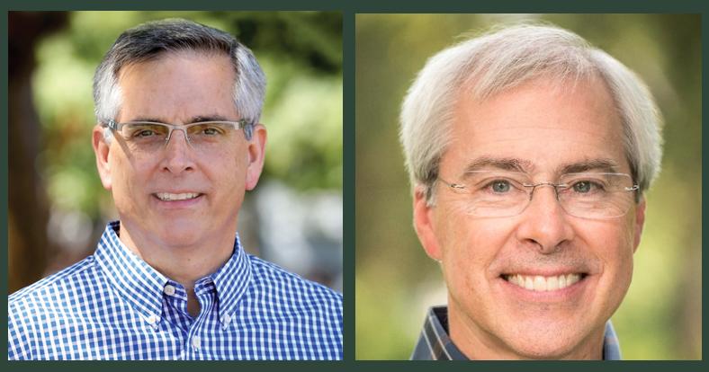 Republican Brad Raffensperger (left) and Democrat John Barrow