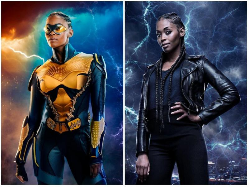 """Black Lightning"" star Nafessa Williams as the superhero,  Thunder. She also is seen as her character in regular clothing."