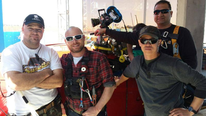 Greg Waddle (far left) and his fellow crew members.