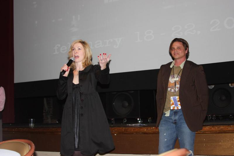 Terrell Sandefur introducing actress Carrie Preston at the Macon Film Festival in 2012.