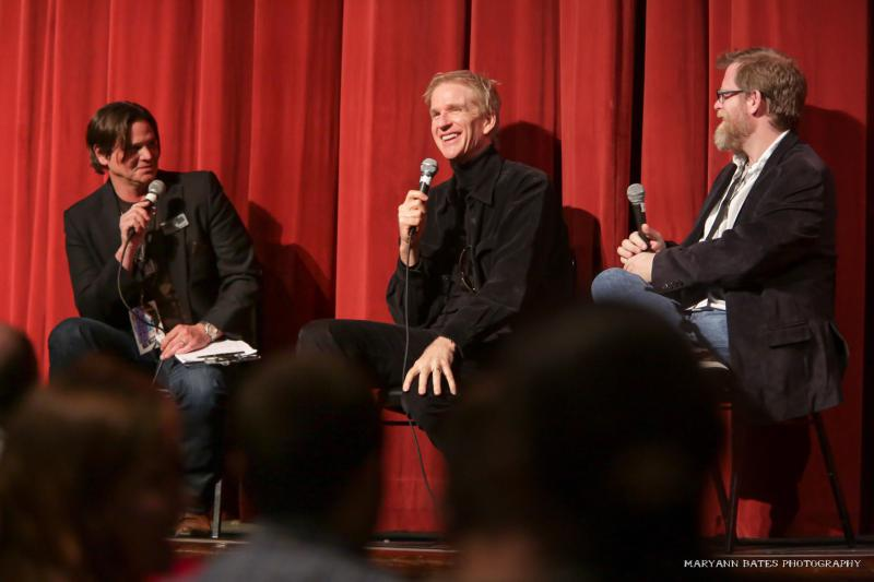 """Following the Macon Film Festival screening of Matthew Modine's film """"Birdy"""" in 2014, Terrell Sandefur moderates a Q&A session with Modine (c). Also featured is SCAD professor Michael Chaney (r)."""