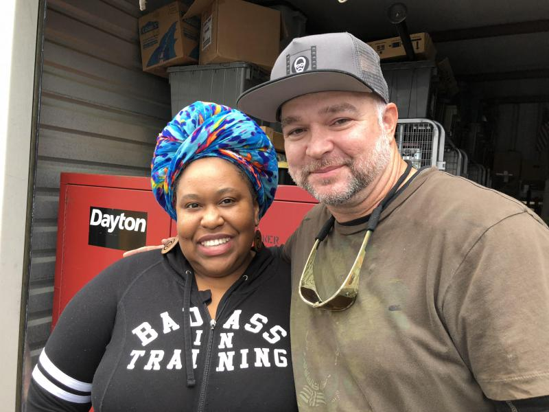 Host Kalena Boller with Greg Waddle, who works as a key grip.