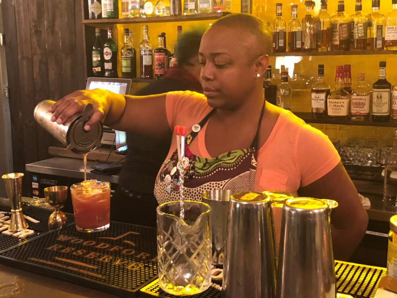 "Tiffanie Barriere mixes up a cocktail and speaks with Chuck Reece of ""The Bitter Southerner."""