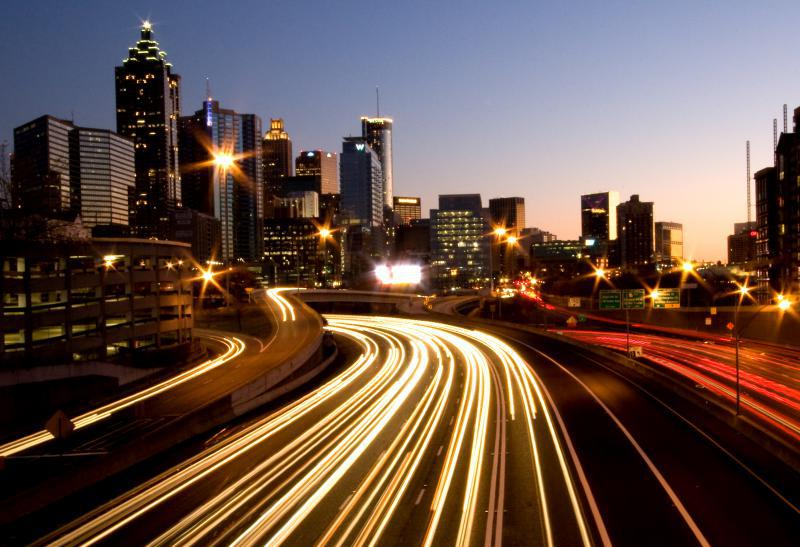 view of Atlanta traffic at night