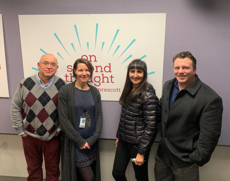 """Breakroom guest Hector Fernandez (left) joined """"On Second Thought"""" host Virginia Prescott along with Anjali Enjeti and Greg Williams (right). Amanda Hollowell joined on the line from GPB Savannah."""